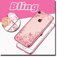 Wholesale Clear Flower Iphone Case - Bling Diamond Transparent Clear Flower Pattern Soft TPU Back Cover Case For iPhone 7 Plus 6 6S SE 5 5S Samsung Galaxy S7 edge S6 Note 5 10pc