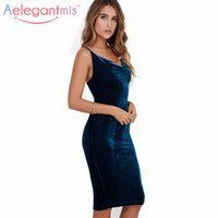 Aelegantmis 2017 Весна Новые женщины Sexy Backless Velvet Slip Dress Ladies Spaghetti Strap Bodycon Вечернее платье Velor Sundress