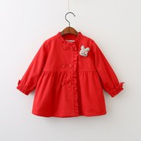 Wholesale Double Breasted Rabbit Coat - Everweekend Girls Bow Rabbit Brooch Coat Cute Baby Double-Breasted Western Fashion Fall Outerwear