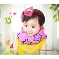 Wholesale Girls Korean Smile - Wholesale- 2015 New Children's winter knitted scarf Korean Five Star Smile face 7 colors boy girls collar age for 1-6 years old WJ8286