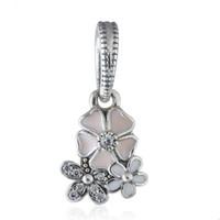 ingrosso il fiore ciondola il braccialetto del branello-Ciondoli di fascino poetico fioritura 925 sterling silver ciondola lo smalto di cristallo fiore di fascini per monili che fanno braccialetto di fascino fai da te HB632