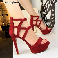 Sexy Wine Red High Heels Chaussures de mariage Platform One Strap Hollow Out Strappy Shoes 5 Couleurs Taille 34 à 39