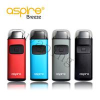 ingrosso aspirare le batterie-Sigaretta al vapore originale Aspire Breeze Vape Kit 2ml 650mAh Batteria integrata Regolatore TPD Dispositivo all-in-one