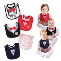 Wholesale Gentleman Baby Bib - Baby cute bowknot bibs gentlemen gentlewoman formal dress cute infants bibs for boys girls