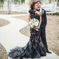 Wholesale gothic white wedding dresses for sale - Fashion Black Gothic Mermaid Wedding Dresses Lace Custom Made Bride Bridal Wedding Gowns Sweep Train robe de mariage