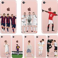 Wholesale Iphone C Back Covers - Football Player Messi C Ronaldo Neymar Tpu Phone Case For Apple Iphone 7 7Plus Soft Back Cover