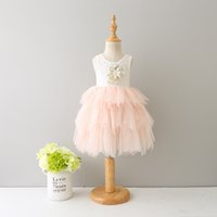 Wholesale Lolita Prom Dresses - Girls lace dresses New Flower Embroidery Kids Party Dress Tulle Children Tutu Dress Fashion Girl ball gown Summer kids prom dresses C1414
