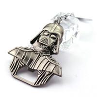 Wholesale Beer Cap Keychain - Movie Star Wars Darth Vader Metal Bar Cap Beer Bottle Opener Keychain BarMetal Vintage Antique Silver For Fans Collection