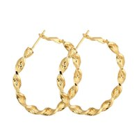 Wholesale Twisted Gold Plated Hoop Earrings - New 18K Yellow Gold Plated Twisted Circle 4CM Big Large Round Loop Hoop Earrings for Women Girls Oorbellen Jewelry Pendientes Aros