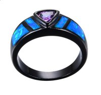 Wholesale Fire Opal Ring Gold - Purple Geometric Ring Blue Fire Opal Ring Black Gold Filled Jewelry Vintage Wedding Engagement Rings For Men And Women