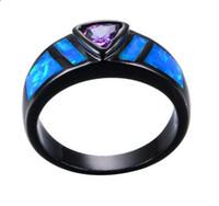 anéis de noivado roxos para mulheres venda por atacado-Roxo Anel Geométrico Azul Anel De Opala De Fogo Preto De Ouro Cheias De Jóias Anéis De Noivado De Casamento Do Vintage Para Homens E Mulheres