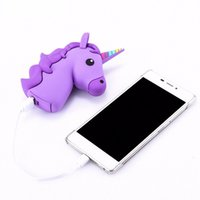 Wholesale Bank Power Iphone Cute - 2600mAh Unicorn Cute Promotion Gift Cartoon PVC External Battery Portable Backup Pack Power Bank Charger for iPhone 7 7 Plus Samsung S8