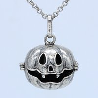 """Wholesale Brass Locket Chain - 5pcs Lot Antique Silver Aromatherapy Jewelry Pumpkin Cage Locket Openable Pendant Essential Oil Diffuser Necklace With 30"""" Chain"""