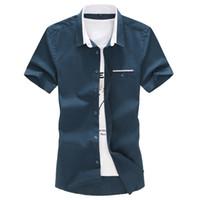 Wholesale Boys Oxford Shirts - Wholesale- 2017 Men Boys Summer Short Sleeve Solid Shirts Comfortable Fmomal Business Oxford Dress Shirts