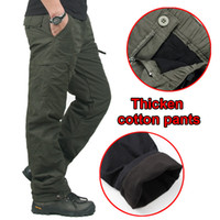 Wholesale fleece outdoor pants - Winter Double Layer Men's Cargo Pants Men Warm Thick Baggy Cotton Outdoors Trousers Casual Army Military Camouflage Tactical