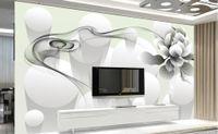 murs blancs fleurs noires achat en gros de-Photo toute taille moderne beauté simple noir et blanc fleurs de fumée mur 3D toile de fond