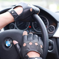 Wholesale Genuine Leather Gloves Wholesale - Sheepskin Driving Semi-finger Gloves Genuine Leather Active Black Driver Semi-finger Gloves for Fathers Day Gift Mens
