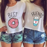 Wholesale Brown Friends - T shirts for women's t-shirt Harajuku BEST FRIENDS Funny Print Solid T-shirts O-neck T shirt White Tops Plus Size Casual Tees NV16 RF