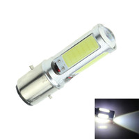 Wholesale Moped Led - White COB led motorcycle headlight bulb Bike Moped ATV scooter headlight bulb DRL BA20D H6 E301