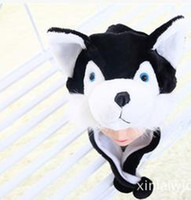 Wholesale Kids Plush Beanie Cap - Animals Plush Black Wolf Cute Plush Animal Hat For Kids Boys Girls Teenagers Adults Mens Womens Winter Beanie Cap