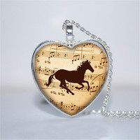 Wholesale Horses Music - 10pcs lot Music Horse Heart Pendant, Horse Jewelry, Horse heart Necklace Glass Photo Cabochon Necklace
