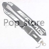 Wholesale Neck Strap Key Holder - New! AMG Lanyard Keychain Key Chain ID Badge cell phone holder Neck Strap black and white.