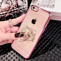 Para iPhone 7 Case Cell Phone Ring Holder Cases Bling Diamond Rhinestone Kickstand Cases Crystal TPU Cover para Iphone 6 6s 7 plus