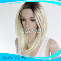 Wholesale Shoulder Length Wigs - Fashion Blonde Ombre Bob Wig Dark Roots Synthetic Lace Front Bob Wigs for Women Heat Glueless Shoulder Length shortbob Blonde Wigs