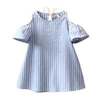 Wholesale Vestidos Infantil - Summer Style Baby Girls off shoulder Dress blue Striped Dresses Infantil Vestidos