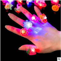 Wholesale Small Color Changing Led Lights - LED Lighted Toys Glowing Finger Ring Cartoon Change Color LED Light Small Ring Party Concert Toys Decorations Gifts Free Shipping