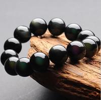 modèles de perles noires achat en gros de-Bracelets en jade naturel avec bracelet en jade noir Bracelet en perles rondes 18-20 mm chez les modèles masculins et féminins