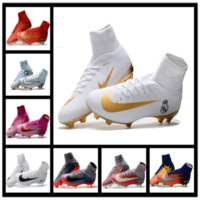 Wholesale 2017 Mercurial Superfly CR7 White Golden Soccer Shoes Soccer Boots Cleats original Men shoes Football Shoes Size