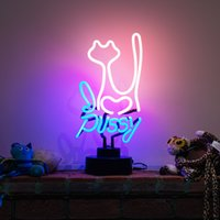Wholesale Glass Pussy - New Pussy Cat Handicrafted Real Glass Tube Neon Table Light Beer Lager Bar Pub Table Sign Neon Light Sculpture Table Lamp