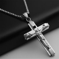 Wholesale men's necklaces online - Big And Heavy Chunky Chain Silver Stainless Steel Jewelry Jesus Crucifix New Men S Cross Pendant Necklace For Men
