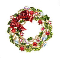 Wholesale Christmas Wreath Bows Wholesale - Wholesale- 2 Inch Gold Plated Multicolor Leaf Flower and Bow Wreath Brooch Christmas Gift for friends