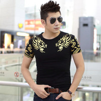 Wholesale Double White Neck - men's T Shirt Double golden dragon Jakiro print t shirts Fashion brand New T-Shirt Short Sleeve O-neck Tops Tees 5 size TX141-R3