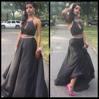 Wholesale prom dress taffeta halter resale online - Hot Two Pieces Beaded Crystals Prom Dresses A Line Halter Keyhole Neck Sexy Open Backless Long African Americans Party Long Evening Gowns
