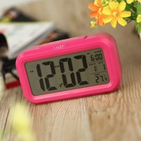 Wholesale Time Date Temperature Led Clock - Anself LED Digital Alarm Clock Repeating Snooze Light-activated Sensor Backlight Time Date Temperature Display Rose Red H11143R