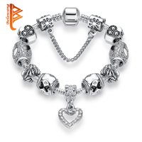 Wholesale Bow Bangles - BELAWANG Heart Shape CZ Pendant Silver Plated Charm Bracelets Enamel Bow Kont Beads Bracelet&Bangles DIY Jewelry with Safe Link Chain