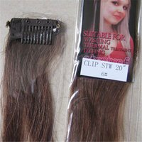 """Wholesale Trade Hair Clips - Wholesale-5pcs New Fashion trade price 20"""" Colorful Colour Women's Human Hair Straight Clips In Extensions 5g Pcs Medium Brown #6"""