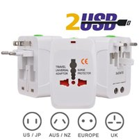 Wholesale Travel Universal Wall Charge Power Adapter USB For Plug Surge Protector with AU US UK EU AC International Travel Converter Retail Package