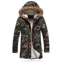 Wholesale Military Jacket Hood Mens - Long Winter Warm Parka Jacket For Men With Fur Hood Military Style Winter Jackets Mens Parkas Blig Size 5XL Long Coat For Winter