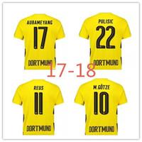 Wholesale Borussia Dortmund Jersey Reus - A++Thai quality 17 18 Borussia Dortmund jerseys 2017 2018 Dortmund jersey AUBAMEYANG GOTZE PULISIC REUS home away football jerseys