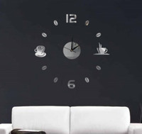 Wholesale Coffee Wall Clock - Wholesale- Funlife(TM) DIY Coffee Cups Kitchen bar wall art mirror clock modern design silent watches home decoration wall clock wc1020