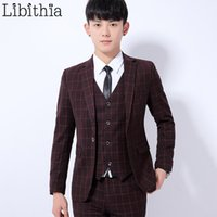 Uomo Casual Suit Blazer Slim Fit Plaid Giacche One Button Blazer Vestiti Maschio M-3XL Wine Red Dark Grey Blue Wear Homme K296