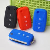 Wholesale Silicone Volkswagen - Silicone key fob protect case cover skin for VW Polo GTi Tiguan Passat B5 B6 Golf MK5 6 Jetta