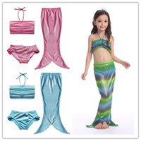 Wholesale Bikini Skirt Sets - Girls glistening mermaid halterneck bikini 3pc set top+shorts+maxi mermaid skirt kids mermaid princess cosplay costume girls swimsuit 2-10T