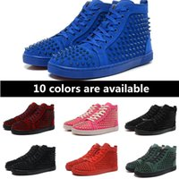 Wholesale Cheap Knee Shoes For Men - Fashion 2017 Cheap Boots for men with Spikes black suede fashion casual mens shoes men leisure trainer footwear red bottom sneakers