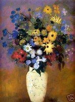 One Panel paintings of abstract flowers - Framed Redon Vase Of Flowers Pure Hand Painted Abstract floral Art Oil Painting On Canvas Multi Sizes Available Vg027