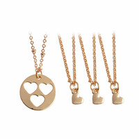 Wholesale Daughter Bride - 4pcs set Hollow Heart Mother Daughter Sisters Pendant Necklace Mother Bride Bridesmaid Inspirational Family Jewelry Birthday Gift